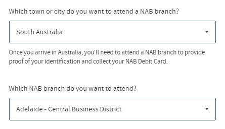 Which NAB branch do you want to attend?